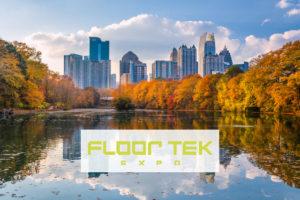 Floor Tek 2020 in Atlanta, Georgia, USA Piedmont Park skyline in autumn on Lake meer.