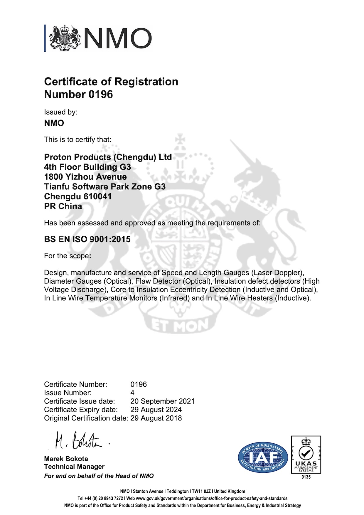 Proton Products  ISO9001 July 2016